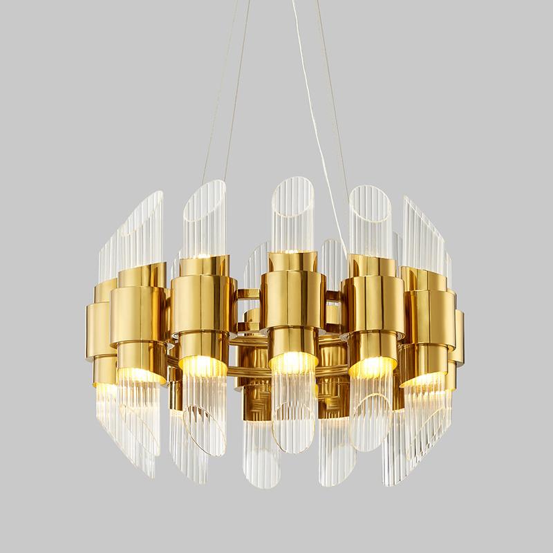 Moderní kreativní skleněná trubka Obývací pokoj Ložnice Kovový lustr Km2129