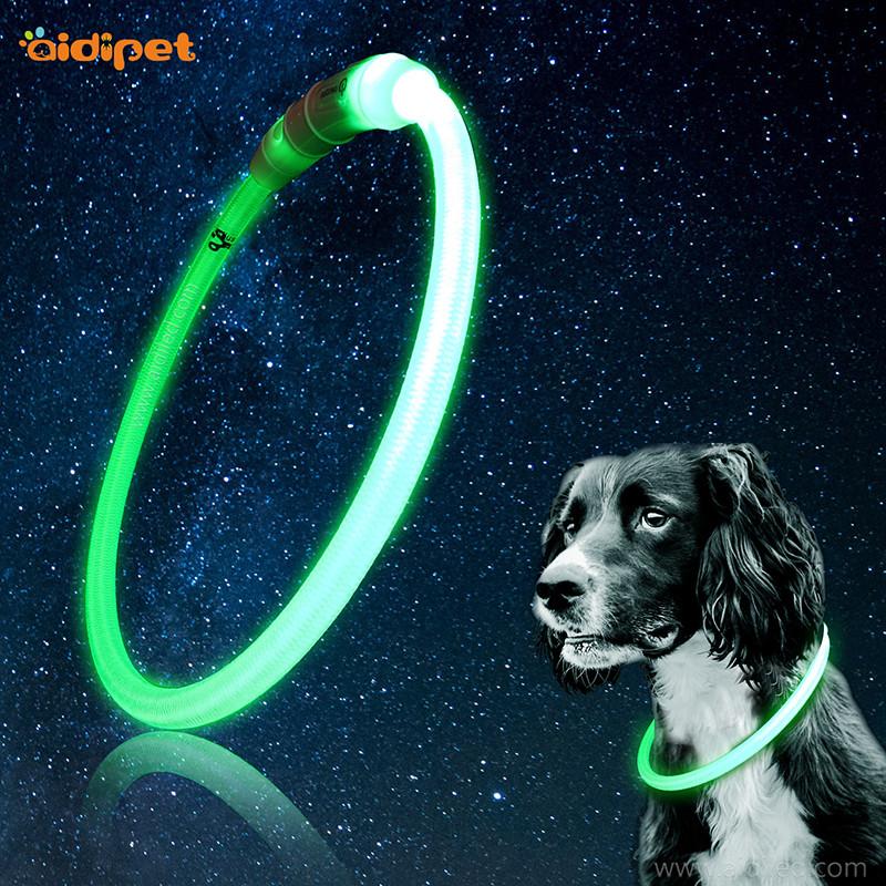 Nylon LED svítí psím límcem Trubkový tvar pet náhrdelník volně řezající