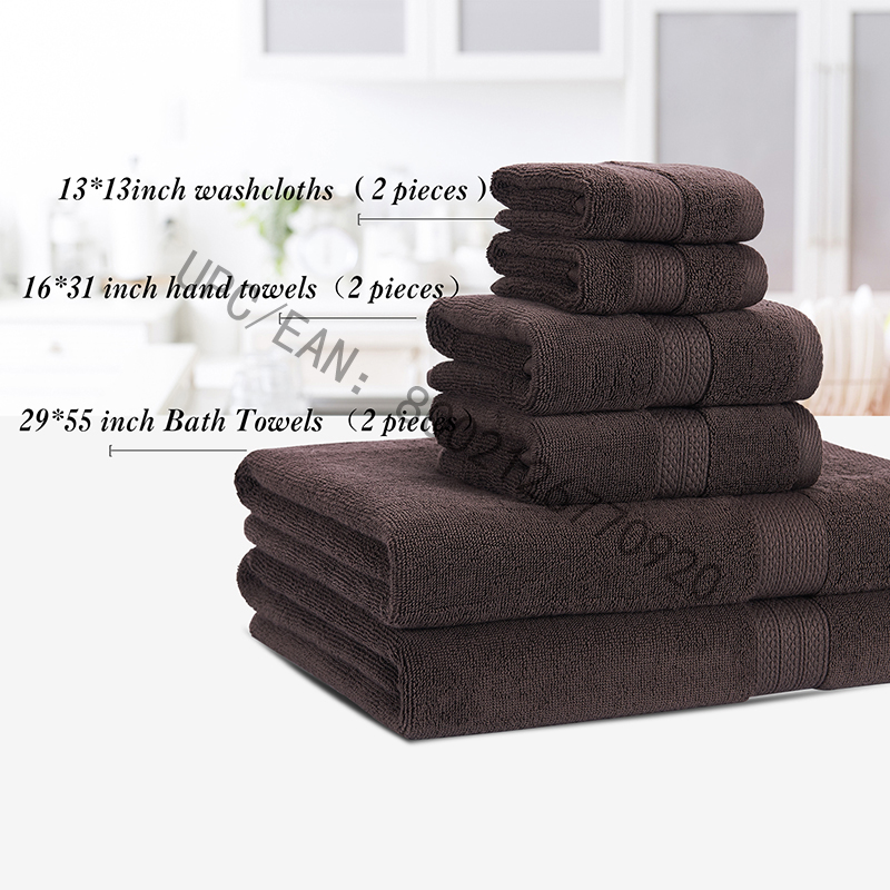 JMD TEXTILE Koupelnové ručníky, kartáčované bavlněné ručníky Šedá sada 6 ručníků Kuchyňský bazén Domácnost, ručníky Odolný savý Pohodlný Extra velký ručník (2 žínky, 2 ručníky, 2 osušky)