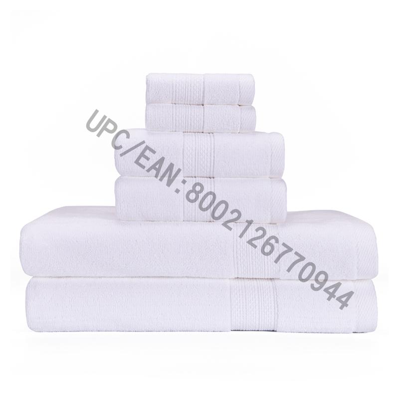 JMD TEXTILE Koupelnové ručníky, komované bavlněné ručníky, sada 6,2 žínek, 2 ručníky, 2 osušky, kuchyň, bazén, domácnost, odolné, savé, pohodlné, extra velký ručník (bílý, 6)