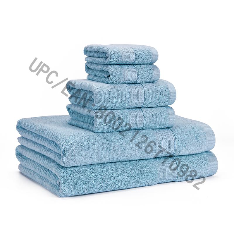 Ručníky Set Clearance, Combed Cotton Ručníky Set 6,2 Žínka, 2 Ručníky, 2 Osušky, Ručníky Bazén Ručníky do domácnosti Odolné savé Pohodlné ručníky Extra Silné Měkké (Světle modrá, 6)