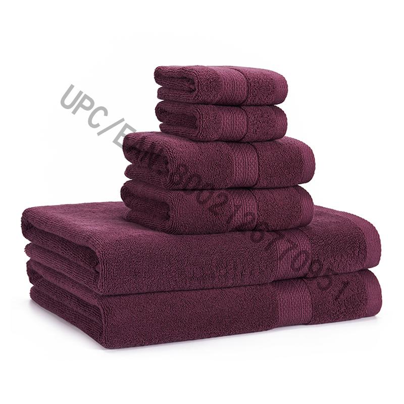 JMD TEXTILE Sada ručníků, sada ručníků ze 6 bavlněných, 2 žínky, 2 ručníky, 2 osušky, ručníky Bazén Ručníky pro domácnost Odolné ručníky Pohodlný absorbent Fialová sada na ručníky