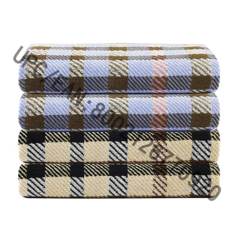 JMD TEXTILE Koupelnové ručníky, 4 kusy Britský styl Plaid Jacquard Ručníky, Velké osušky 100% Bavlna, Osušky Bazén Tělocvična Hotel Travel, College Dorm Room Accessories, Ručník Hnědý Ručník Blue