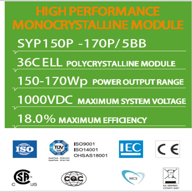 VYSOKÝ VÝKONNÝ MODUL MONOCRYSTALLINE SYP150P -170P / 5BB 36C ELL POLYCRYSTALLINE MODUL