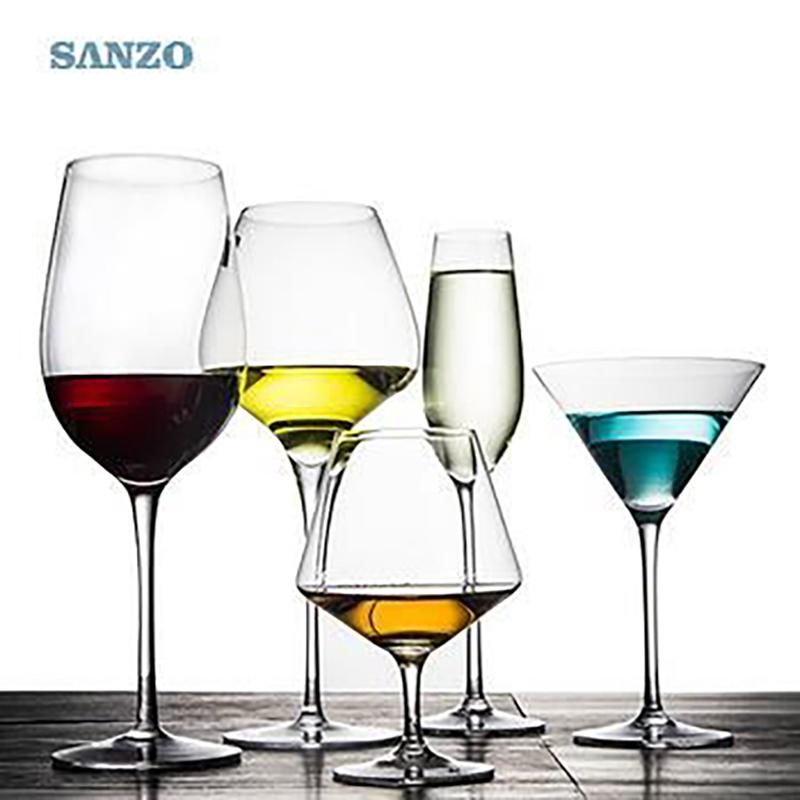 SANZO Black Stem Lismore Balon Wine Wine Handmade Olovo křišťálově ryté brýle Husté brýle