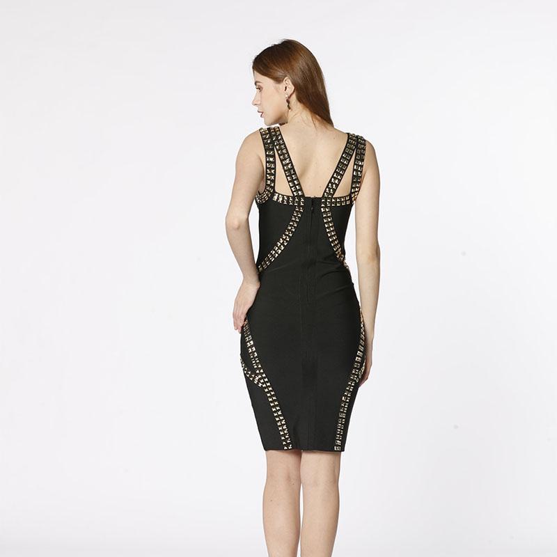 Vysoce kvalitní nový styl ručně vyrobené nýty černé na rameni štíhlý bodygon sexy noční klub obvaz šaty