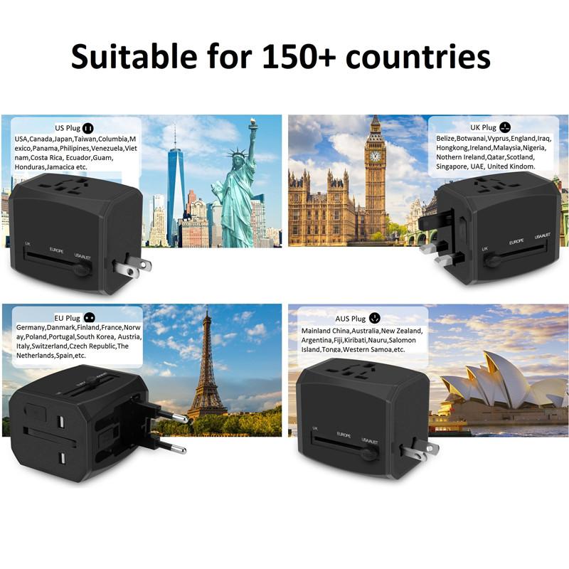 RRTRAVEL nový vlastní univerzální cestovní adaptér pro inteligentní svět s usb rychlou nabíječkou pro Evropskou Británii, USA, Austrálii