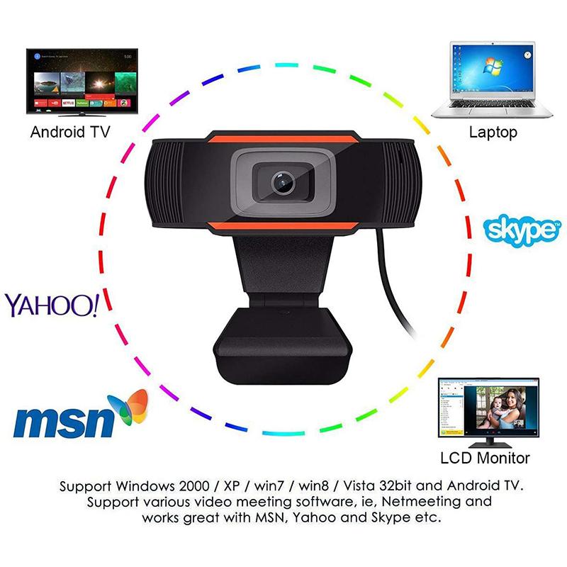 HD 1080P Počítačový počítač Desktop Rottable USB 2.0 Kamera s digitálním mikrotelefonem
